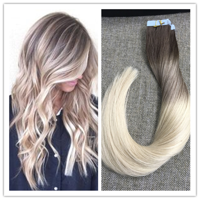 Full Shine Balayage Tape in Hair Extensions Blonde Ombre Balayage Color#3 Fading to #8 and#613 Skin Weft Glue in Hair Extensions