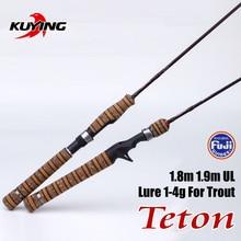 KUYING Teton UL Ultra-light Soft Fishing Rod 1.8m 1.9m Lure Carbon Casting Spinning Pole FUJI Trout Medium Action Free Shipping
