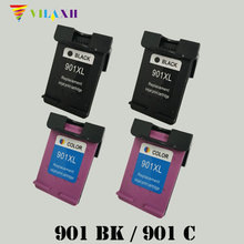 2PK Black H901XL &2PK Color Remanufactured Ink Cartridges CC654AE CC656AE for Officejet J4530 J4540