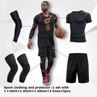 6pcs Men Basketball Set Jersey Shorts Tight Mens Sport Suit Sportswear Dry Fit Basketball Knee Protector Elbow Support Arm Guard
