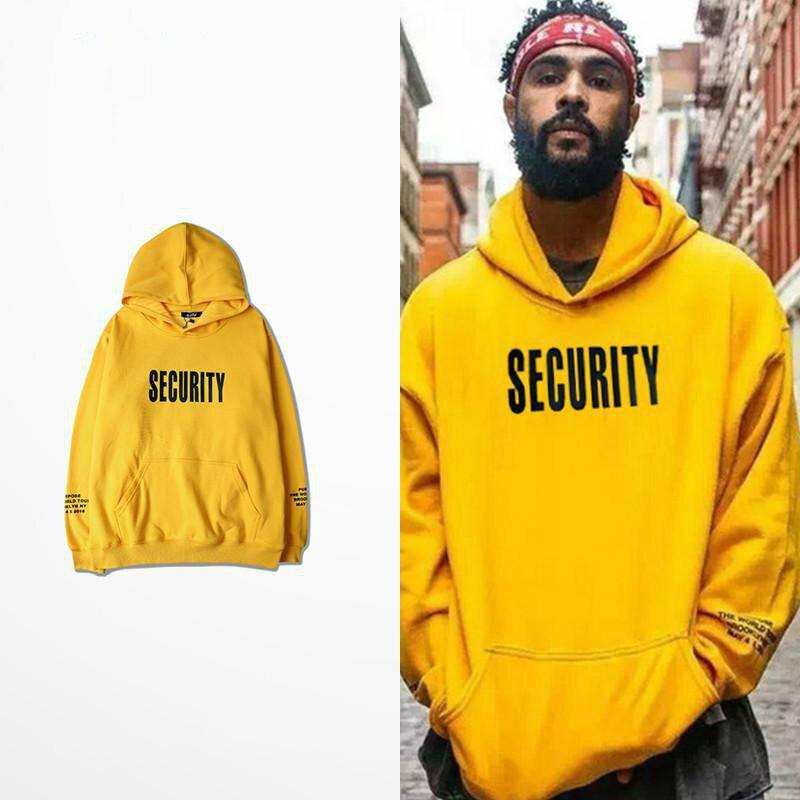 Vfiles Security Print Hoodie Justin Bieber Fog High Street Sweatshirt Bibb Purpose Tour Yellow Hoodie Lovers