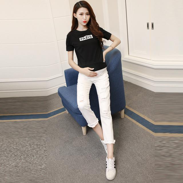2016 nova moda jeans maternidade primavera & outono mulheres grávidas calças de brim branco lazer gravidez calça jeans de cintura alta jeans casual venda