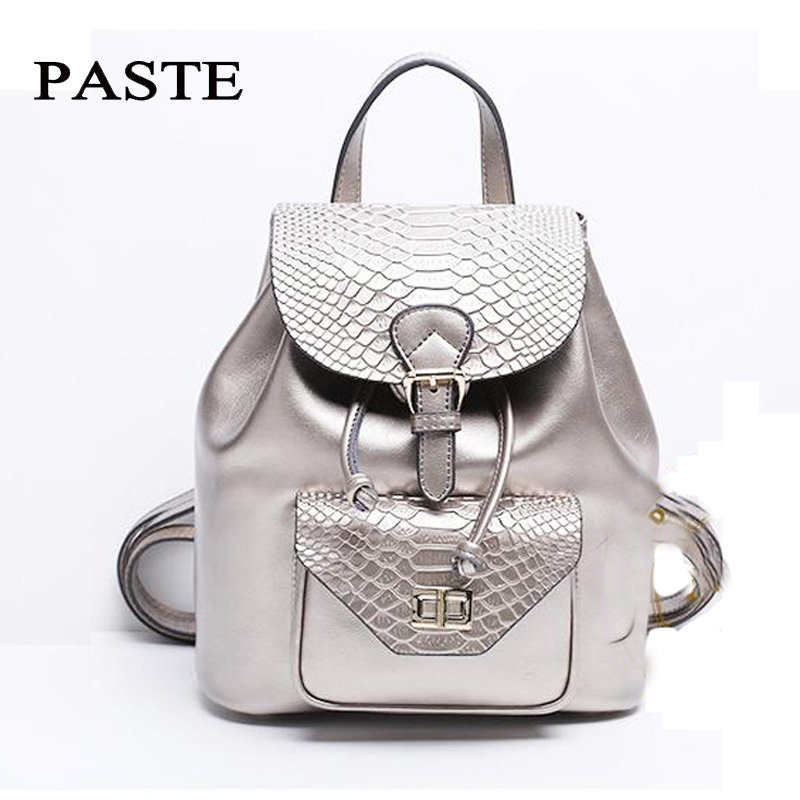 Luxury Silver Crocodile Pattern Cowhide Leather Backpack Women Fashion Double Shoulder Bag Magnetic Buckle College School