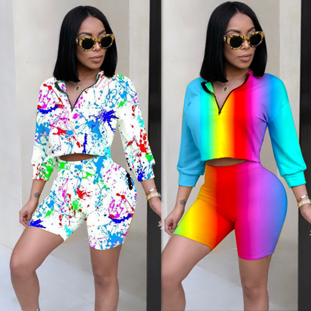 Top with Shorts Women Reflective 2 Piece Sets rainbow 2019 Outfit Tracksuit Sportswear Co ord Set White Clothing Summer Print in Women 39 s Sets from Women 39 s Clothing