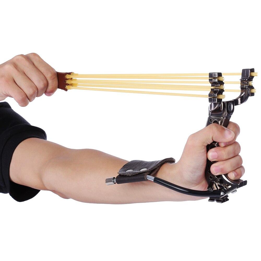 Poderoso caza arco Honda banda de goma de cuero de la PU profesional táctico bolsillo plástico tirachinas de caza al aire libre
