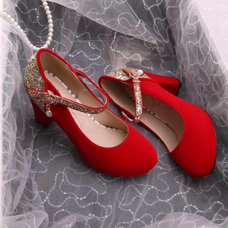 Plus rozmiar 34-43 nowa wiosna jesień Bling damskie buty na wysokim obcasie buty ślubne balowe 2018 kolor gruby obcas lady bridal party pompy