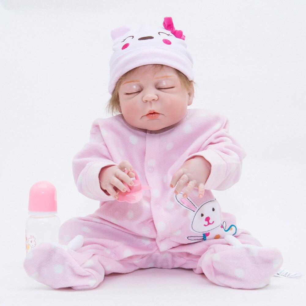 22 inches Full Silicone Newborn Girl Doll Lovely Sleeping Reborn Baby Doll for Kids Toy Birthday Christmas Xmas Gift Bebe lovely christmas reborn doll silicone 16inch newborn baby doll realistic toddler doll kids birthday gift