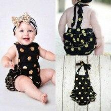 2016 Cute Newborn Girls Ropmers Polka Dot Floral Infant Girl Denim Jumpsuit Sunsuit Outfits