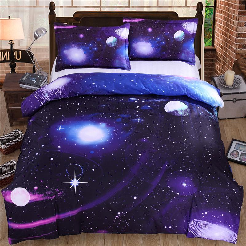iDouillet 3D Nebala Outer Space Star Galaxy Bedding Set 2/3/4 pcs Duvet Cover Flat Sheet Pillowcase Queen Twin Size 31