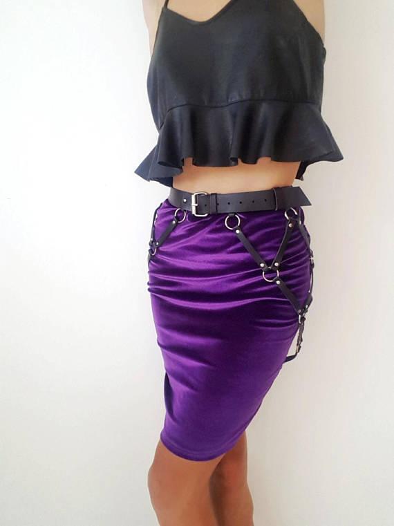 women black body hip shape heavy rock stage play leather harness skirt belt