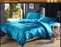 Green Blue Silk Satin Bedding set Super California King queen full size sheets linen bed sheet duvet cover sets bedspread solid