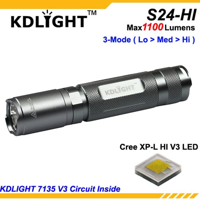 ใหม่ KDLITKER S24 HI CREE XP L HI V3 สีขาว 6500K / Neutral White 4500K/WARM White 3000K 1100 Lumens 3 โหมดไฟฉาย LED