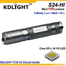 New KDLITKER S24 HI Cree XP L HI V3 White 6500K / Neutral White 4500K / Warm White 3000K 1100 Lumens 3 Mode LED Flashlight