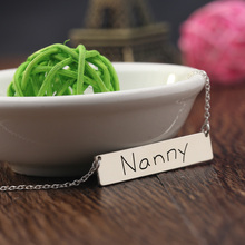 925 Solid Silver Engraved Custom Name Necklace Horizontal Rectangle Bar Personalized Silver Necklace Women