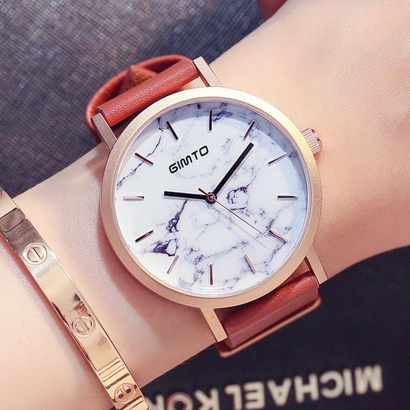 GIMTO Fashion Casual Sport Watch Men Marble Pattern Dial Unisex Quartz Wrist Watch for Women Clock Lovers Watch Reloj Mujer стоимость