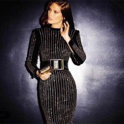 HOT vysoce kvalitní celebrity s dlouhým rukávem svislé pruhy - Dámské oblečení