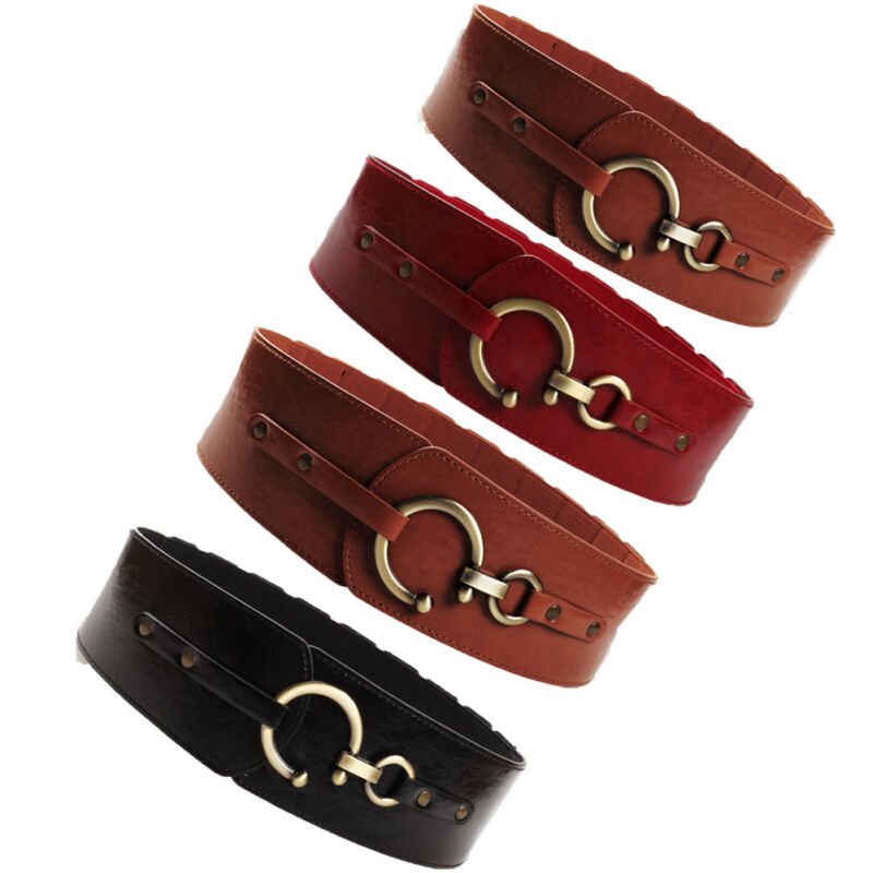 Vintage Ladies Metal Leather Round Buckle Wide Waist Belt For Women Buckle Thick Elasticated Stretch Belts Accessory Waist Belt