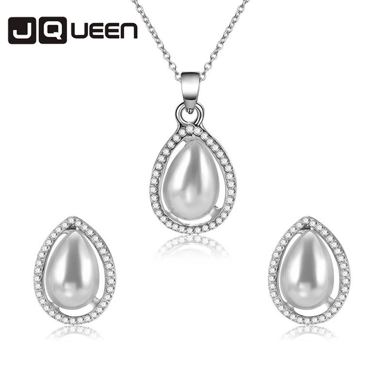 High Quality Fashion Bridesmaid Bride Accessories Set Luxury Crystal Rhinestone Water Drop Earrings Necklace Bridal Jewelry Sets