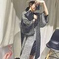 Завышение свитер платье 2016 эксклюзивный оригинальный harajuku моды осень и зима длинные сплит свитер платье свободные платья свитер