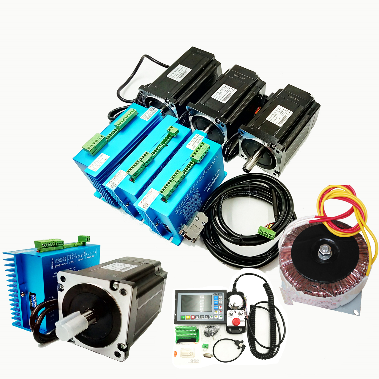 4 Axis NEMA34 1700oz-in 12Nm Closed-Loop Stepper Kit Driver+Motor+Controller3.1+Handwheel+Power Supply for CNC Engraving Machine