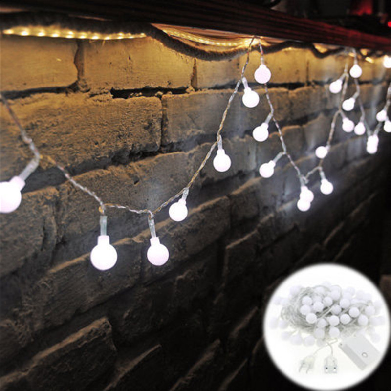 <font><b>220V</b></font> New year Christmas Light <font><b>10M</b></font> <font><b>100LED</b></font> Milky Ball LED Fairy String Light Indoor & Outdoor Garden,Party,Wedding Holiday Lights image