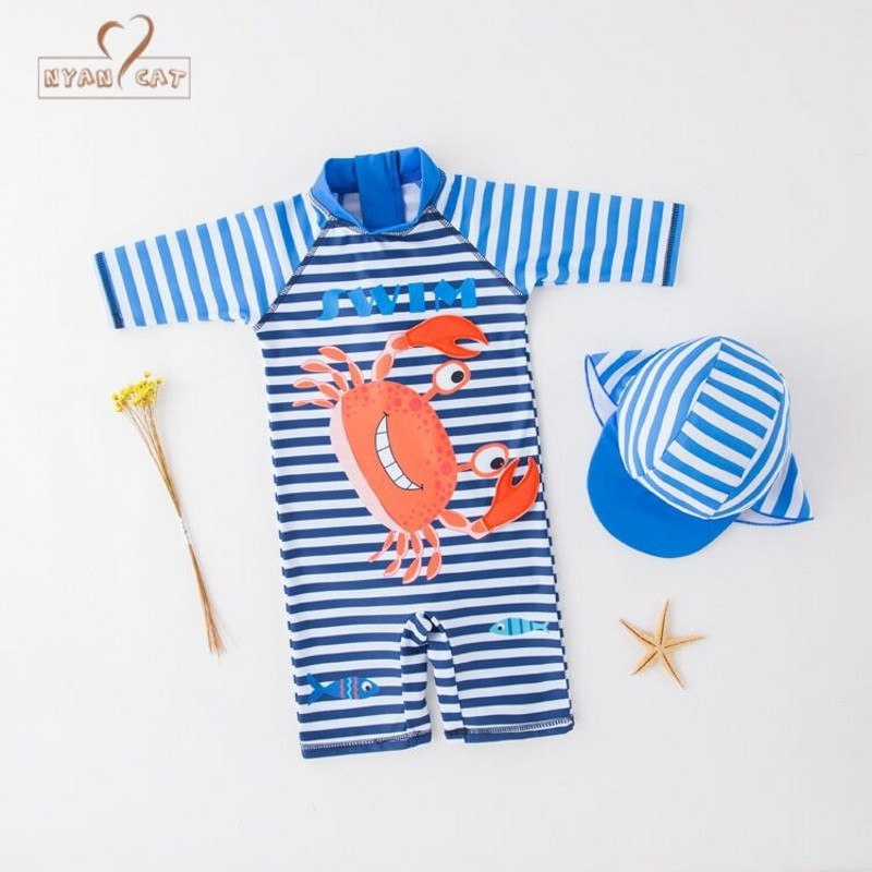 Swimwear Kids Boys Blue Striped Crab Cartoon Swimming Bathing Clothes Infant Toddler Swimming Vacation Clothes Beachwear