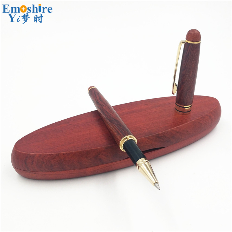 High-end Roller Ball Pen Ballpoint Pens for Writing Supplies With Classic Wooden Pencil Box Pencil Case Ball Pens P108 black new arrival ballpoint pen and bag metal school office supplies roller ball pens high quality business gift 003