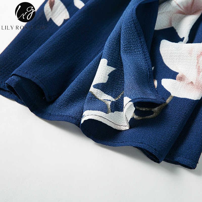 Lliy Rosie девушка Темно-синие Цветочные двух частей Комбинезоны с открытыми плечами Boho летние пляжные пикантные длинные комбинезоны комбинезон спинки Общая