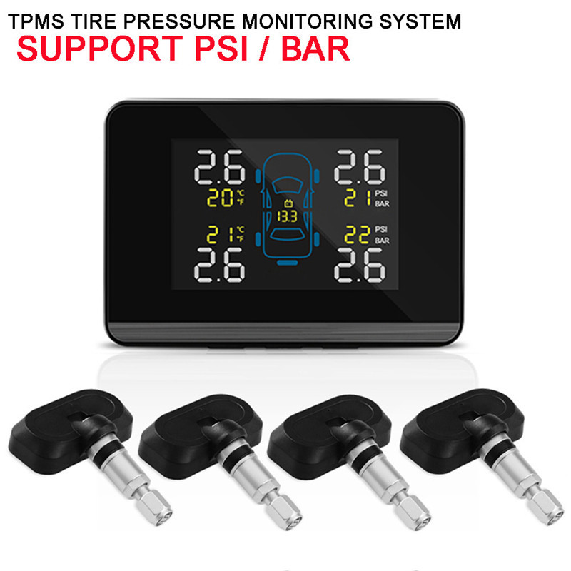 2017 Car Wireless TPMS Tire Pressure Monitoring System with 4 Sensors LCD Display Monitor Cigarette Lighter Socket free shipping автокресло zlatek fregat серый 1 12 лет 9 36 кг группа 1 2 3