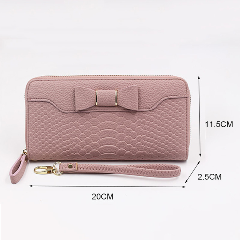 Women Purse pu Leather Bow pattern Long Wallets Pink Lady Card holder female High quality Purse Zipper Belt 2018 Fashion in Wallets from Luggage Bags
