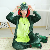 Dinosaur Unicorn Stitch Giraffe Stitch Unisex Flannel Pajamas Women Men Cosplay Cartoon Animal Onesies Sleepwear Hoodie
