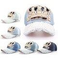 Envío gratis 2015 handworks exterior corona perla de los granos clásicos retro denim cap béisbol sombreros de sun para mujeres sombrero mujeres del partido