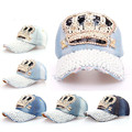 free shipping 2015 handworks outdoor crown pearl beads classics retro cap denim baseball sun hats for women hat women party