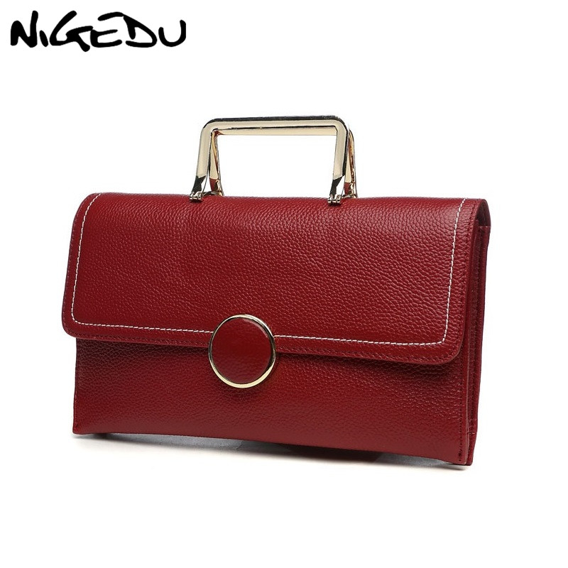 NIGEDU Clutch Bag Female Messenger Bag Ladies Genuine Leather Handbag Small Women Envelope Clutches Flap Crossbody Shoulder Bag new punk fashion metal tassel pu leather folding envelope bag clutch bag ladies shoulder bag purse crossbody messenger bag