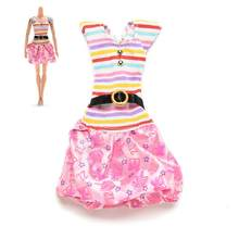 1Pc NEW Fashion Dresses for Dolls Rainbow Color Striped Top Printed Tutu Skirt Doll Dress Clothes Accessories(China)