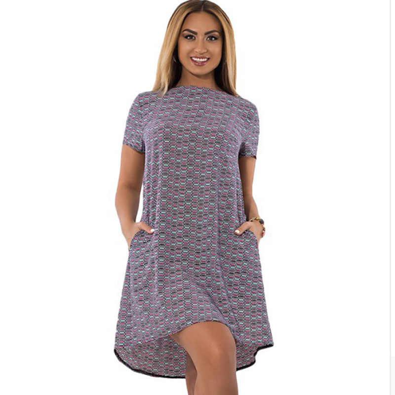 6XL Plus Kích Thước Sundress Nữ 2019 Thời Trang Retro In Cổ Tròn Ngắn Tay Váy Túi Kích Thước Lớn Rời Eo Đảng áo