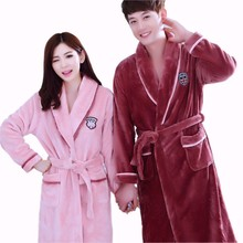 Winter Thick Warm Women Robes New Coral Fleece Sleepwear Long Robe Woman Hotel Spa Plush Bathrobe Nightgown Kimono