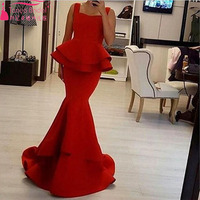 Red Elegant Arabic Evening Dress Middest African Prom Dress Stunning Ruffles Long Spaghetti Dress Party Dress Z023