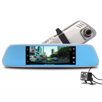 7 Inch Car DVR 3G WIFI Android 5 0 System Dual Cam Mirror Build In Mic
