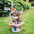 A013 DIY поворот мельница виллы деревянная кукла дом большой кукольный домик миниатюры с голосовые огни muisc девочек игрушки