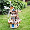 A013 DIY rotating windmill villa wooden doll house large dollhouse miniature with voice lights muisc girls toys