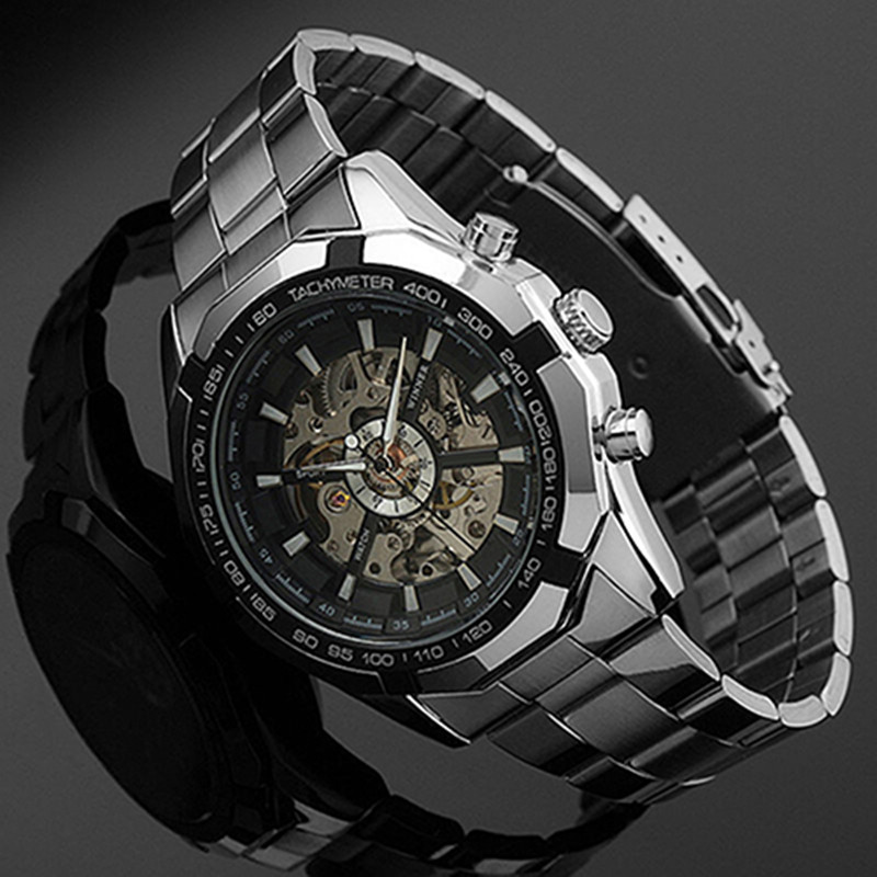 2018 Stainless Steel Hand-Winding hollow Automatic Sport Mechanical Wrist Watch Men(China)
