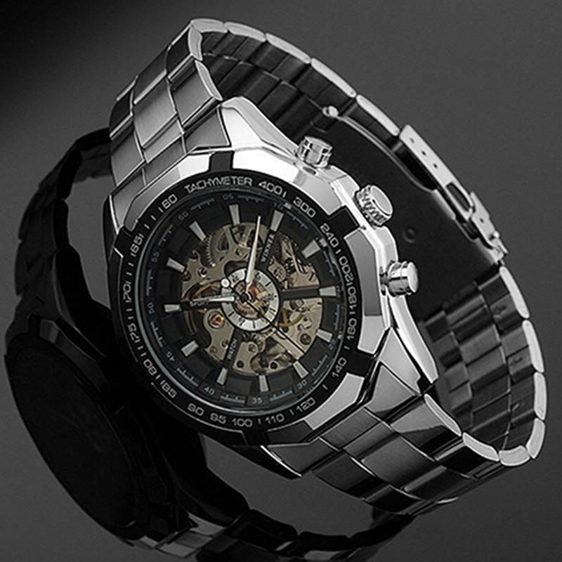 Stainless Steel Hand-Winding hollow Automatic Sport Mechanical Wrist Watch Men