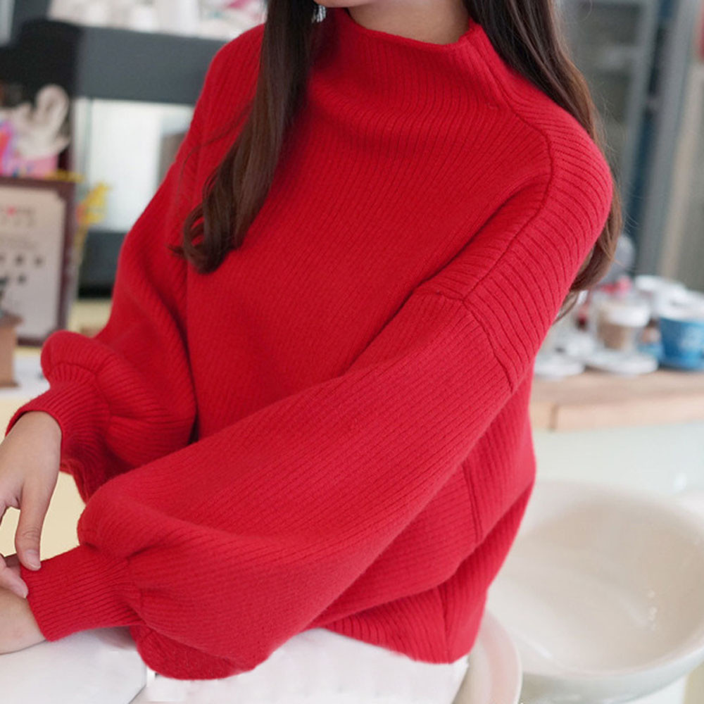Winter Women Sweaters Fashion red white Turtleneck lantern Sleeve Pullovers Loose Knitted Sweaters Female Jumper Tops 19 10