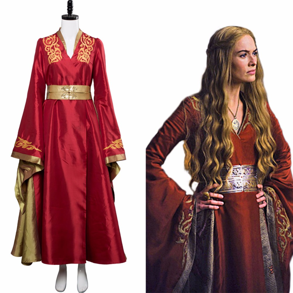 Game of thrones Cosplay Cersei Lannister Costume Halloween Carnival Masquerade Queen Red Luxury Dress Role Play Costume Women