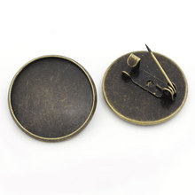 20Pcs Bronze Tone Round Cameo Setting Safety Pins Back Pin DIY Brooches Sewing Crafts Making 22mm Fit 20mm недорго, оригинальная цена