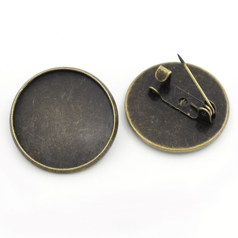20Pcs Bronze Tone Round Cameo Setting Safety Pins Back Pin DIY Brooches Sewing Crafts Making 22mm Fit 20mm