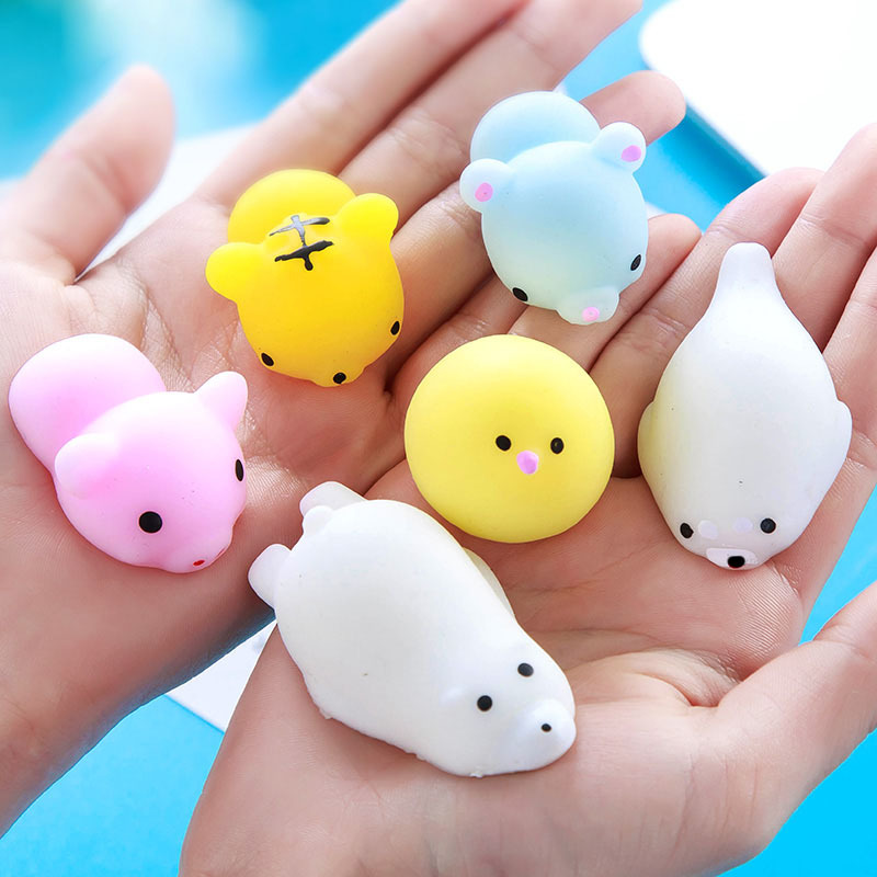 Random Cute Anti-stress Toys Lovely Soft Silicone Hand Squeeze Toy Mini Animals Cat Rabbit Tiger Pig Duck