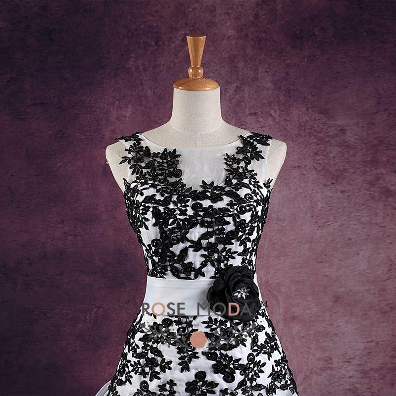 Encantador Vestido De Novia Con Encaje Negro Patrón - Vestido de ...