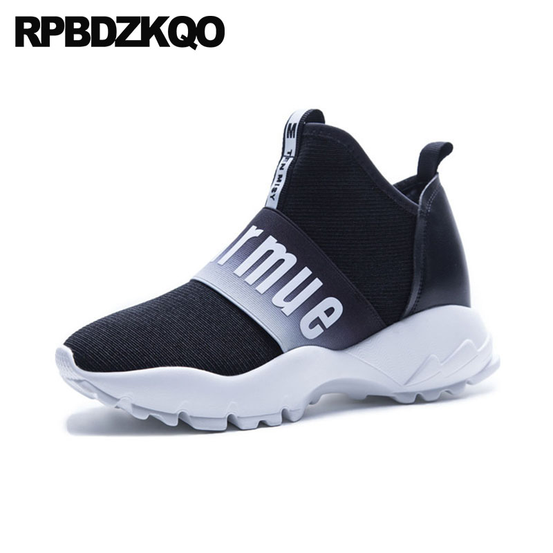 Thick Sole Harajuku Trainers Sneakers Designer Slip On Large Size Leisure Women Muffin Elevator Creepers Platform Shoes Elastic